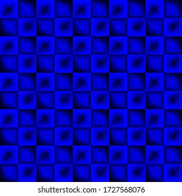 Fashionable large glare from small blue intersecting squares in gradient dark cage. Abstract digital fractal square texture for modern business style with halftone effect.