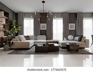 Modernes großes Transformatorsofa mit Eckelementen in einem modernen Wohnzimmer mit grauen Wänden und großen Fenstern. Vorderseite. 3D-Darstellung.