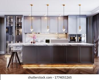 Moderne moderne Küche mit grauem, zeitgenössischem Mobiliar, Kücheninsel mit Bar-Theke und zwei Stühlen, beige Wände und Parkettboden. 3D-Darstellung.