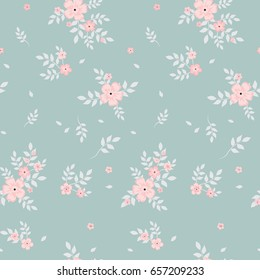 Fashionable pattern in small pink flowers on a dark background. Floral seamless background for textiles, fabrics, covers, wallpapers, print, gift wrapping and scrapbooking. Raster copy.