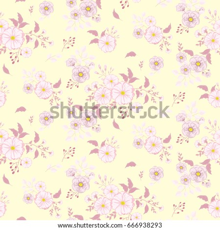 Fashionable Pattern Small Pink Flowers On Stock Illustration