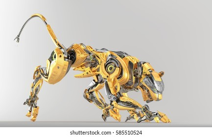 Fashionable robotic panther in side creeping pose, 3d rendering