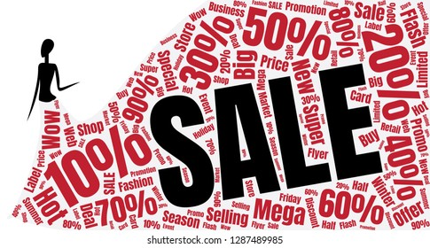 Fasion Sale Word Cloud Made of Different Percentages of Discounts. Sales  Concept. Collage for Fasion Design