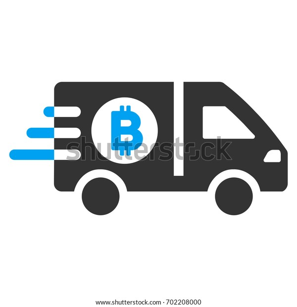 Fast Bitcoin Delivery Car flat raster pictograph for application and web design.