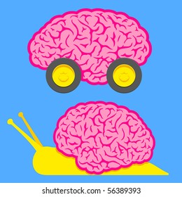 Fast brain on wheels and slow snail brain