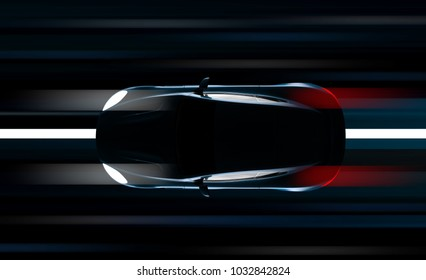 Fast car in the night: 3D illustration