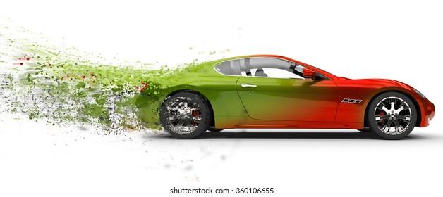 Fast car - paint peeling off