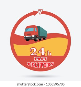 Fast delivery icon. Round the clock shipment emblem. Design can be used as a logo, a poster, advertising, singboard.
