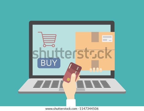 Fast delivery online. E-shopping with card on computer.