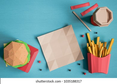 Fast food background concept from cardboard on paper background. Cartoon food product packaging and delivery. 3D model render
