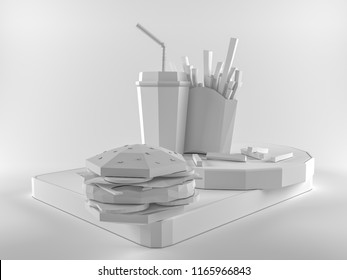 Fast food background concept from cardboard on paper background. Cartoon food product packaging and delivery. 3d render illustration