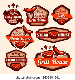 Fast food and BBQ Grill elements, Typographical Design Label or Sticer. Design Template.