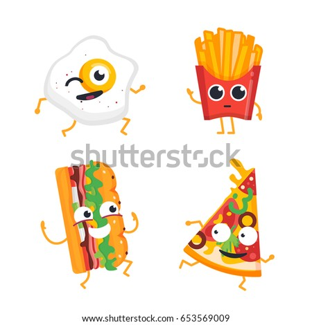 fast food cartoon characters modern template stock illustration