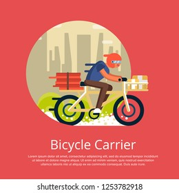 Fast food delivery poster with courier man ride bicycle on cityscape background. Ordering take away food and delivery to customer door illustration. Restaurant advertising for food service.
