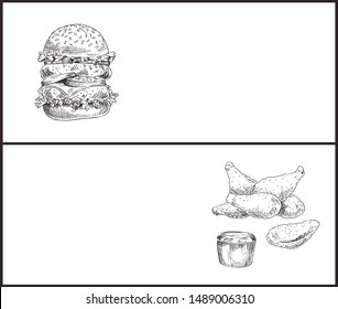 Fast food hamburger and fried chicken with sauce graphic art snack isolated on white, burger with fresh ingredients and buns with sesame, nuggets heap