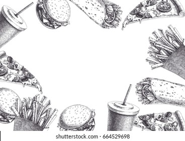 Fast food Hand drawn background. Vintage illustration with french fries, burger, wrap, pizza slice and milk shake in paper cup. Texture for menu in sketch style