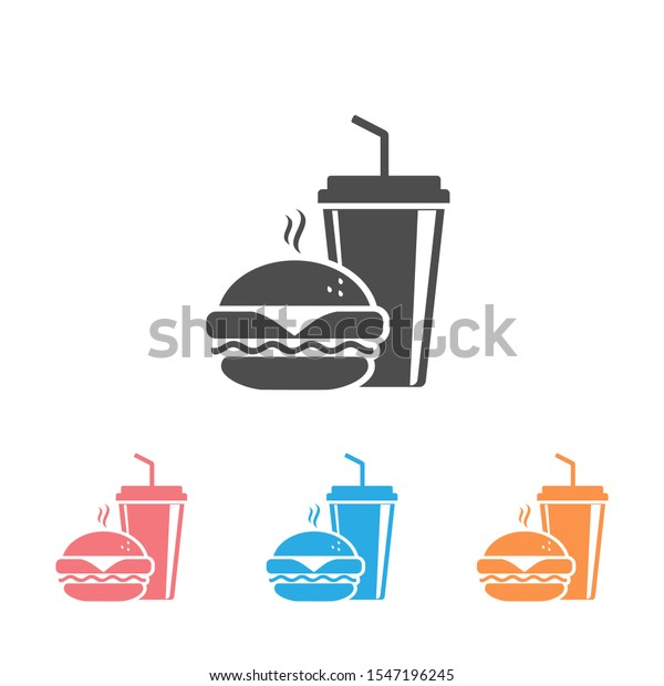 Fast Food Icon Set. Burger and soda or cola drink silhouette, isolated symbol
