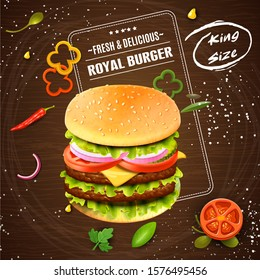 Fast food menu template for fast food restaurant or cafe. Deluxe king burger. 3d illustration.