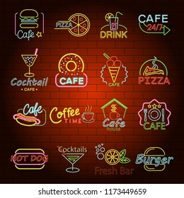 Fast food neon glow shop sign icons set. Flat illustration of 16 fast food neon glow shop sign icons for web