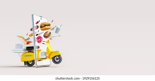 Fast food online delivery concept with scooter coming through the smartphone screen 3D Rendering, 3D Illustration