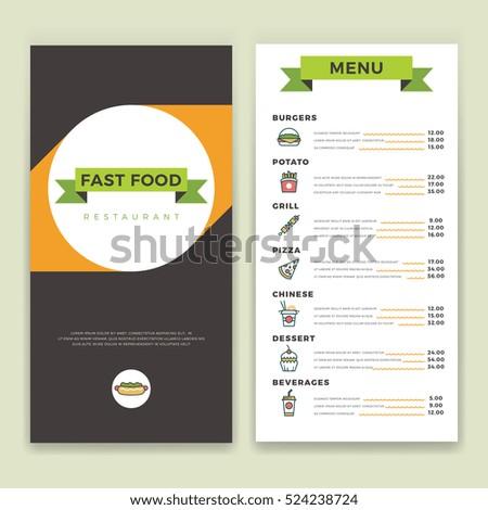 fast food restaurant cafe menu template stock illustration 524238724