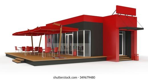 Fast food restaurant on white background.3d render