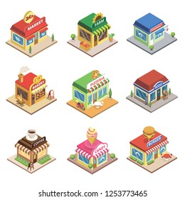 Fast food restaurant and shop buildings isometric set. Pizzeria, 24h market, pharmacy, farm store, coffee cafe, burger, bakery, books, and candy shops. Commercial city architecture illustration