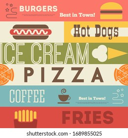 Fast Food Retro Background. Illustration. Poster in Vintage Style.