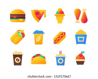 Fast food - set of flat design style icons on white background. Quality colorful bright images, chat elements. Hamburger, pizza, ice cream, chicken, coffee to go, fizzy drinks, hotdog, french fries