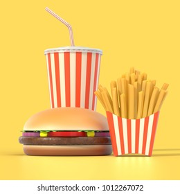 Fast food set in generic striped package on yellow background. 3D illustration