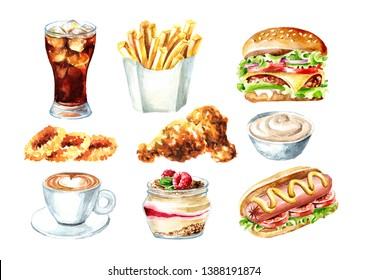 Fast food set. Hamburger,  hot dog, glass of cola, Cup of coffee, fried chicken, onion rings, sauce, dessert. Watercolor hand drawn illustration, isolated on white background