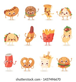 Fast food smile cartoon expression characters of hamburger or cheeseburger with fast-food emotion of burger or hot dog emoticon icons and soda drink emoji illustration isolated on background