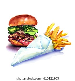 Fast food, tasty burger, hamburger, and french fries, fried potatoes, in paper bag, isolated, watercolor illustration