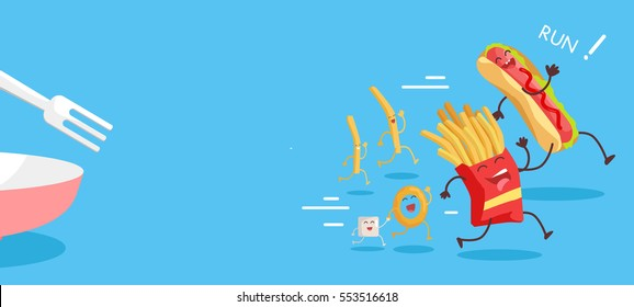 Fast food web banner. Smiling running french fries, onion ring and sugar. Flat illustration with traditional junk food for restaurant landing page. Order food online. Funny dishes cartoon characters