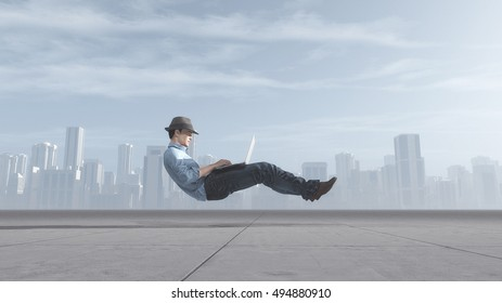 Fast levitating businessman, on a road, using a laptop computer. This is a 3d render illustration