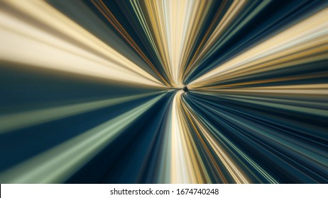 Fast movement through tunnel. Animation. Fast movement through cyber tunnel with neon stripes in space. Dizzying traffic through striped tunnel with turns