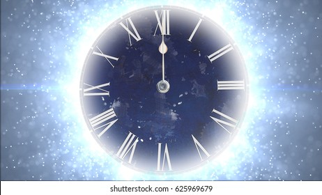Fast moving clock with lots of particles. Space and time