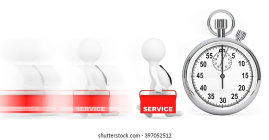 Fast Service Concept. 3d Persons with Red Toolbox and Stopwatch on a white background