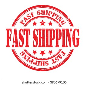 fast shipping stamp on a white, bitmap