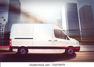 Fast van on a city road . 3D Rendering