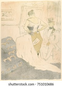 Fastening a Corset, by Henri de Toulouse-Lautrec, 1896, French Post-Impressionist print. lithograph. The full title is Woman Fastening a Corset, Passing Conquest, shows a women dressing as a seated ma