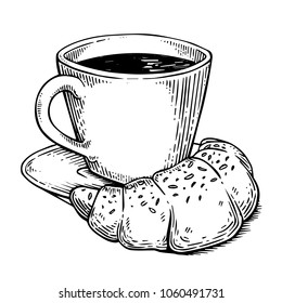 Fastfood coffee and croissant engraving raster illustration. Scratch board style imitation. Black and white hand drawn image.