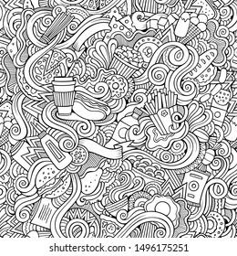 Fastfood hand drawn doodles seamless pattern. Fast food background. Cartoon fabric print design. Sketchy illustration.