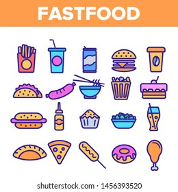 Fastfood Linear Icons Set. Fastfood Thin Line Contour Symbols Pack. Junk Food Pictograms Collection. Unhealthy Snacks, Quick Meal, Street Food. Hamburger, French fries Outline Illustrations