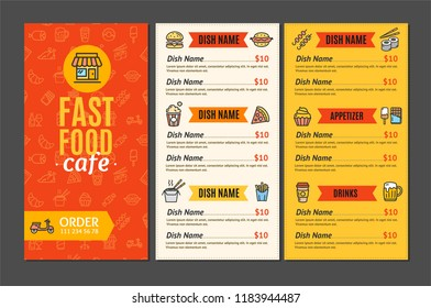 Fastfood and Street Food Menu Cafe Design Template Name Of Dish Order for Service Delivery. illustration of Three page menus