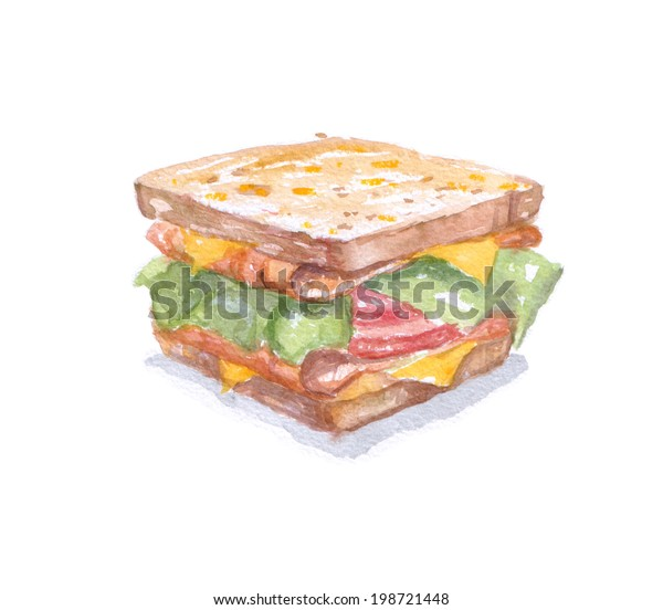 fastfood watercolor sandwich for breakfast. Dish for caffes menu