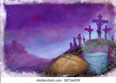 Fasting symbols of bread and water with Crucifixion of Jesus Christ on Calvary hill. abstract artistic modern digital pastel style illustration for Holy Week, Passion of Christ, Good Friday