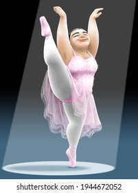 A fat, beautiful ballerina balances on one foot with one leg raised over her head.