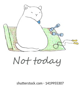 Fat funny white cat sitting on the green yoga matl. Hand drawn illustration by color pencils and ink.