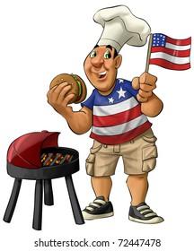 fat guy eating a hamburger with usa shirt and flag